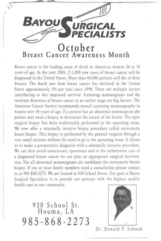 breast cancer surgery mammogram bayou surgical