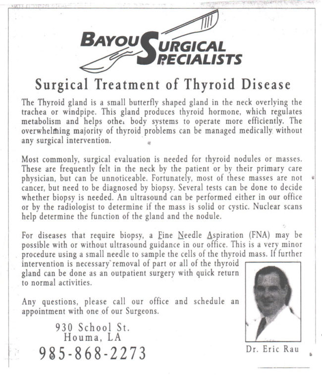 surgical treatment of thyroid disease bayou surgical specialists